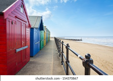 Colourful Beach Huts at Mundesley on the North Norfolk Coast, England UK Europe