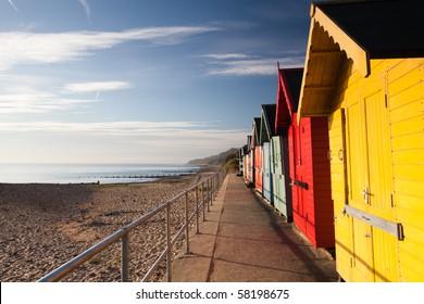 Colourful beach huts on the Cromer beach