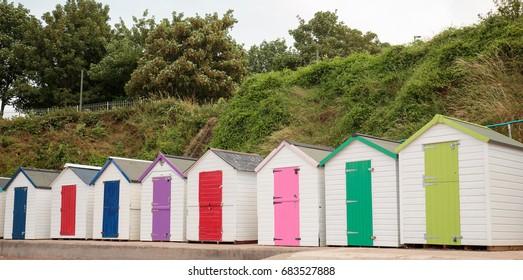 Colourful Beach Huts on Meadfoot Beach in Torquay, Devon