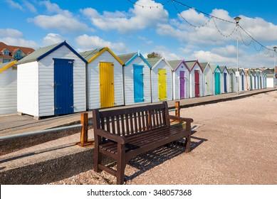 Colourful beach huts on Preston Sands promenade Paignton Torbay Devon England UK Europe