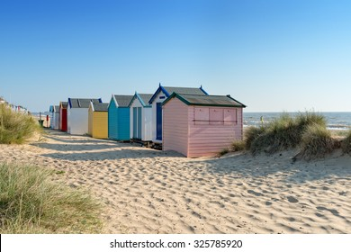 Colourful beach huts at Southwold on the Suffolk coast