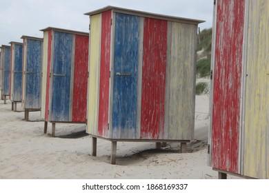 Colourful beachhouses at the beach....