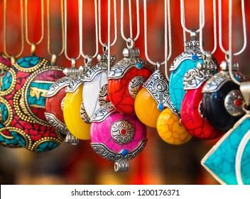 Colourful Bead Necklaces , Handicraft In Main Bazaar , Leh Ladakh, India