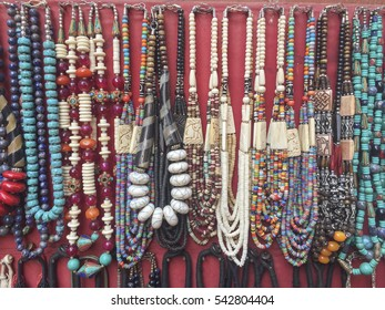 Colourful beads as a gifts for sale in Bhaktapur, Place of devotees. Also known as Bhadgaon or Khwopa, it is an ancient Newar city in the east corner of the Kathmandu Valley, Nepal
