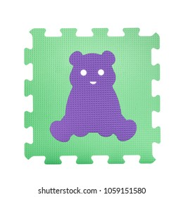 Colourful bear puzzle. Animal puzzle piece isolated on white background. Animal learning block for children education.