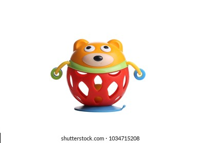 Colourful Bear toy isolated on white background