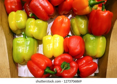 Colourful bell peper.Green, red, yellow pepers background