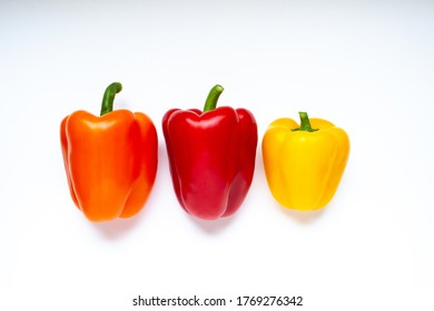 Colourful bell pepper on white background