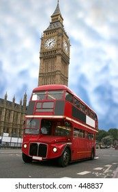 colourful big ben with a classic london bus in front
