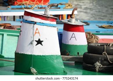 Colourful boat exhausts of Mumbai