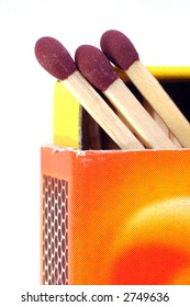 A colourful box of matches, with the drawer opened and the heads of three matches visible, isolated on white
