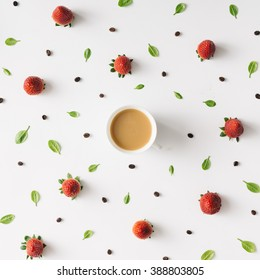 Colourful bright pattern made of natural things with coffee cup.