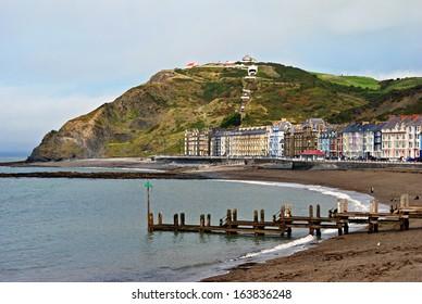 Colourful buildings by North Beach, Aberystwyth