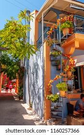 Colourful buildings at Fiscardo, Kefalonia, Greece