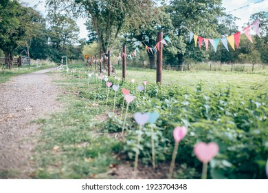 Colourful bunting and hearts for outdoor party