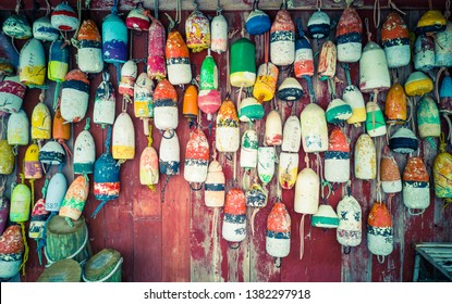 Colourful Buoys at Pier 81, New York, USA