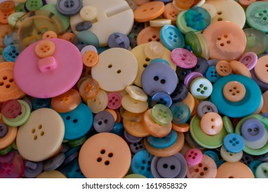 Colourful buttons, assorted shapes and sizes