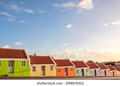 Colourful caribbean street houses, Curacao backgrounds