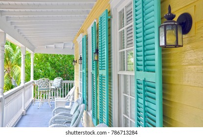Colourful Carribean Style home verandah