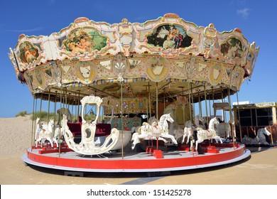 Colourful carrousel on the Belgian coast.