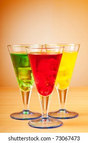 Colourful cocktail in glasses