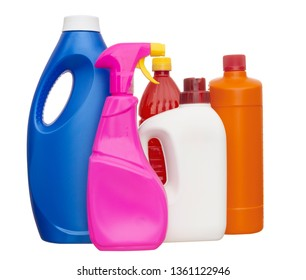 Colourful, colorful plastic bottles for domestic products isolated on white background.