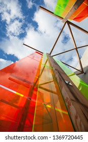 Colourful construction in perspex
