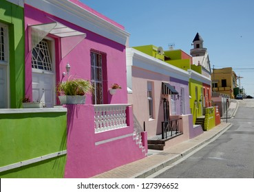 Colourful cottages in a street in Bo Kaap, formerly known as the Malay Quarter, in Cape Town.