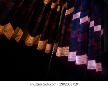 Colourful curtain clothes of a window unique photo