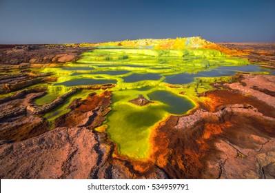 Colourful Dalol volcano in the ethiopian danakil desert