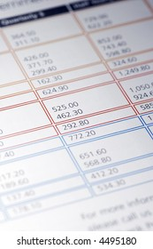 Colourful Data Table Of Financial Figures, Insurance Premiums, Payments