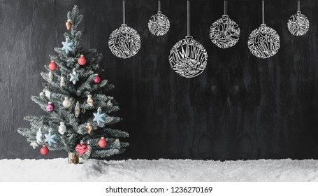 Colourful Decorated Tree, Ball Ornament, Copy Space, Snow