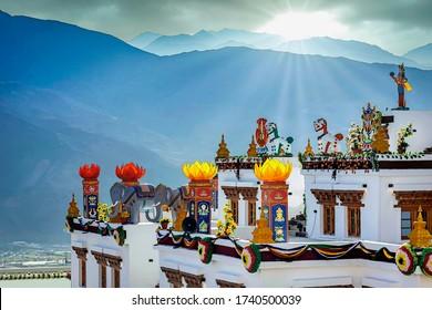 Colourful decorations at Hemis Monastery a Himalayan Buddhist monastery of the Drukpa Lineage, in Hemis, Ladakh, India