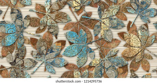 Colourful digital wall tiles design for bathroom or Canvas Leaf Art Decor For wall Decoration. Seamless colorful leaf patchwork in turkish style, wallpaper, linoleum, textile, web page background.