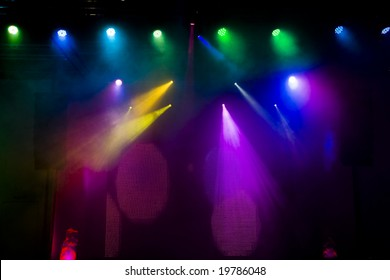 Colourful disco lighting in the stage