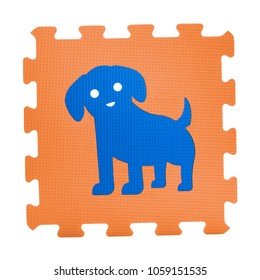 Colourful dog puzzle. Animal puzzle piece isolated on white background. Animal learning block for children education.