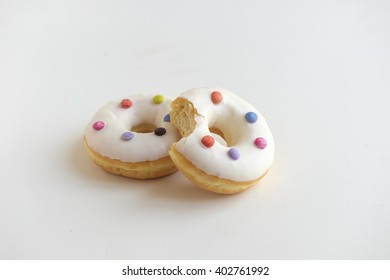 colourful donuts on white background