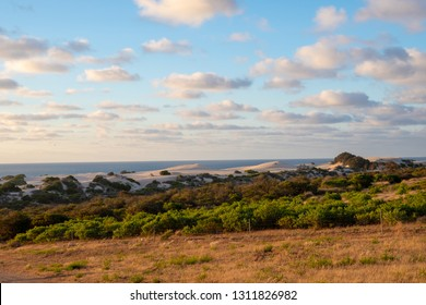Colourful dunes and coast landscape during sunset in Geraldton Western Australia