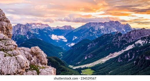 Colourful dusk in Julian Alps