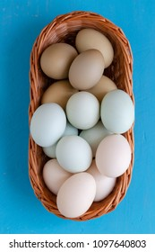 Colourful eggs in gradient natural tones placed in woven wicker basket still image. Full frame view from top on vivid blue background