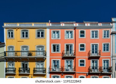 Colourful facade of buildings in Lisbon, Portugal.