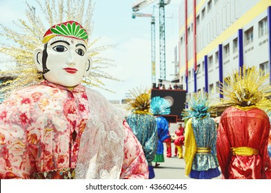 Colourful faces of Ondel-Ondel in Jakarta