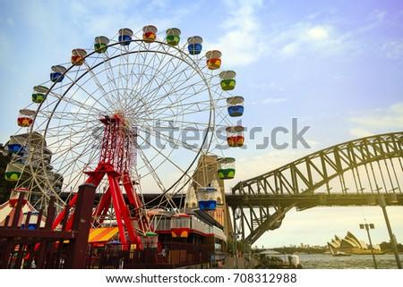 Colourful ferris wheel carriages