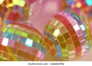colourful and festive disco ball background close up