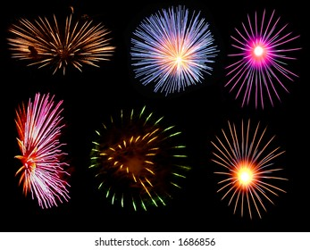 Colourful Firework Bursts