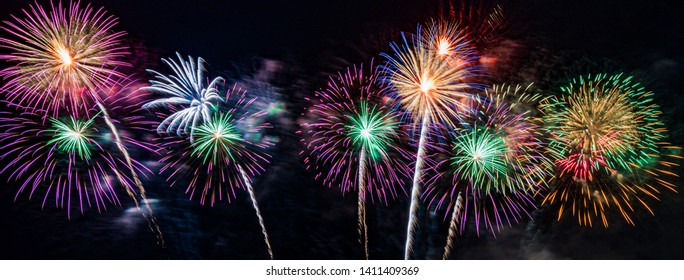 Colourful fireworks on the sky,New Year celebration fireworks background.