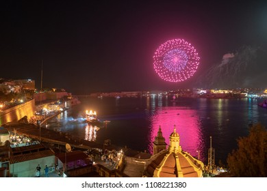 Colourful fireworks in Valletta, Malta isolated in dark background with the place for text, fireworks festival 2015 in Malta, 4 July, Independence, New Year, explode, light show