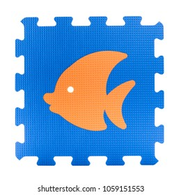 Colourful fish puzzle. Animal puzzle piece isolated on white background. Animal learning block for children education.