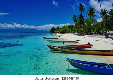 Colourful fishing boats floating on turquoise calm waters off a white sand beach flanked by coconut palms. Raja Ampat, West Papua, Indonesia.