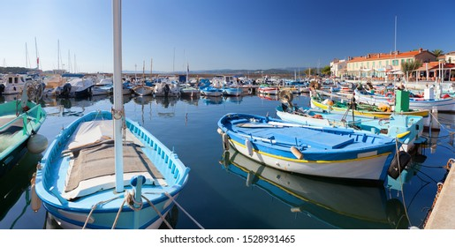 Colourful fishing boats in a little harbour on the French Riviera near Toulon
